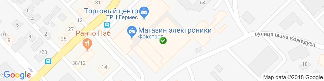 Карта объектов компании Expertmebliv