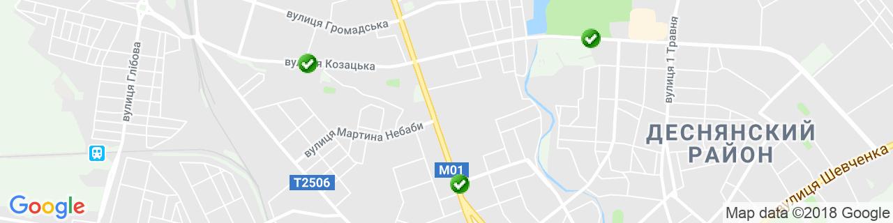 Карта объектов компании Черниговская фабрика лозовых изделий