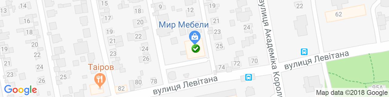 Карта объектов компании Мир Мебели